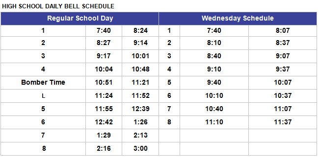 High School Bell Schedule 2015