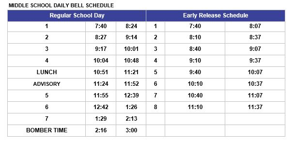 Middle School Daily Bell Schedule